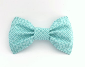 Aqua Patterned Bow Tie Hair Clip