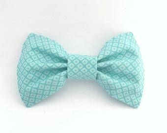 Aqua Patterned Bow Tie Hair Clip