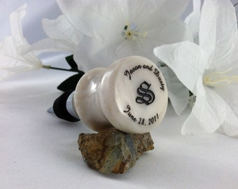 Personalized Wedding Wine Bottle Stopper and Corkscrew Combination - Pearl White - Free Engraving