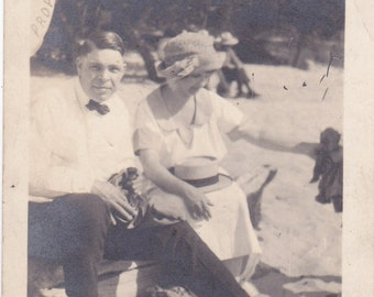Antique Snapshot Photo of Couple at Orchard Beach July 1946