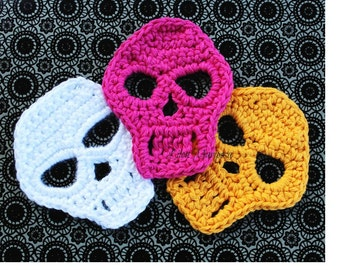 Crochet Skull Pattern Skull Applique Pattern Motif Crochet Sugar Skull Pattern Crochet Mexican Skull Pattern Crochet Halloween Pattern Death