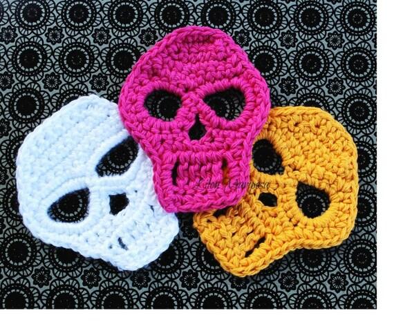 CROCHET CALAVERAS dia de los muertos patron de crochet, aplique a crochet