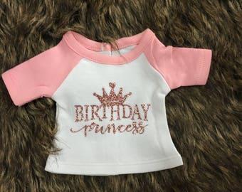 Birthday Princess Doll Pink Raglan Shirt for 18 Inch Doll