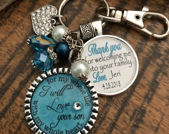 Personalized Mother of Groom gift, I will love your son with my whole heart for my whole life, thank you for welcoming me into your family