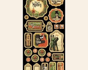 Graphic 45-Master Detective Decorative Chipboard