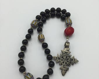 Anglican Rosary Prayer Beads  Episcopal Rosary   Chevron African Trade Beads  Ethiopian Cross  Abyssinian  Cross  Coral