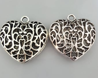 Large Silver Tone Puffy Double Sided Filigree Heart Pendant,  35x34x10.5mm - 1 Piece