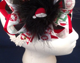Christmas Ho Ho Santa Hat Black Red Over-The-Top Hair Bow Hairbow