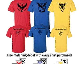 Team Valor/Mystic/Instinct T-Shirt - Red/Blue/Yellow- Black Vinyl  with CUSTOM gamer tag/name (Includes free 4x4 Decal)