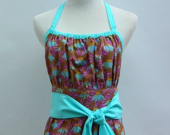 Ladies Apron in Brown with Purple and Turquoise Flowers