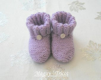 Bottons baby purple baby wool