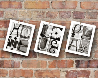 Inspirational Wall Art in Alphabet Photography, Live Love Hope Home Play Pray in 8x10 prints, wall decor
