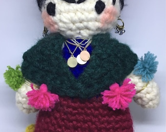 Cute crochet Frida Kahlo doll