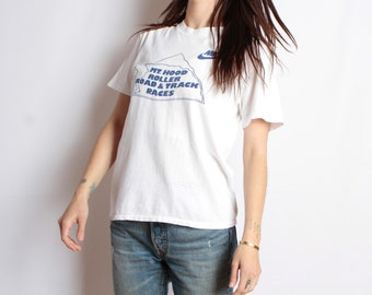 vintage NIKE 80s ROLLER SKATING vintage racing white & blue National Championship t-shirt