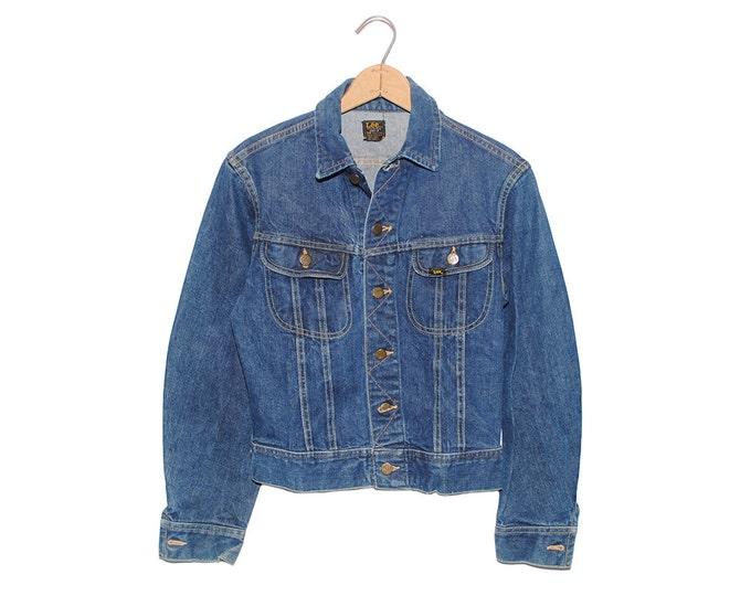 Vintage Lee Jean Jacket 101-J Sanforized Denim Union Made in USA - 34 Regular (OS-DJ-16)