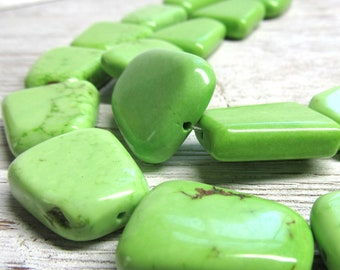 25 x 18mm Lime Green Turquoise Smooth Flat Trapizoid Beads -  8 Pieces