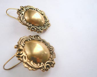 Domed antiqued gold spoon earrings Scrolled Victorian earrings Large antiqued gold earrings Big gold earrings Big gold dangles Evening wear