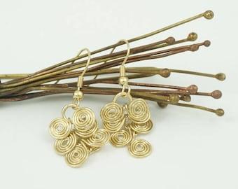 Spiral Golden Earrings, Geometric Earrings, Meditation Earrings, Chakra Earrings, Shanti Gift, Shanti Earrings, Spiritual Earrings, Love