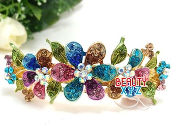 Flowers Rhinestone Gold Plated Standard Size Hair Barrette hair clip in multi color