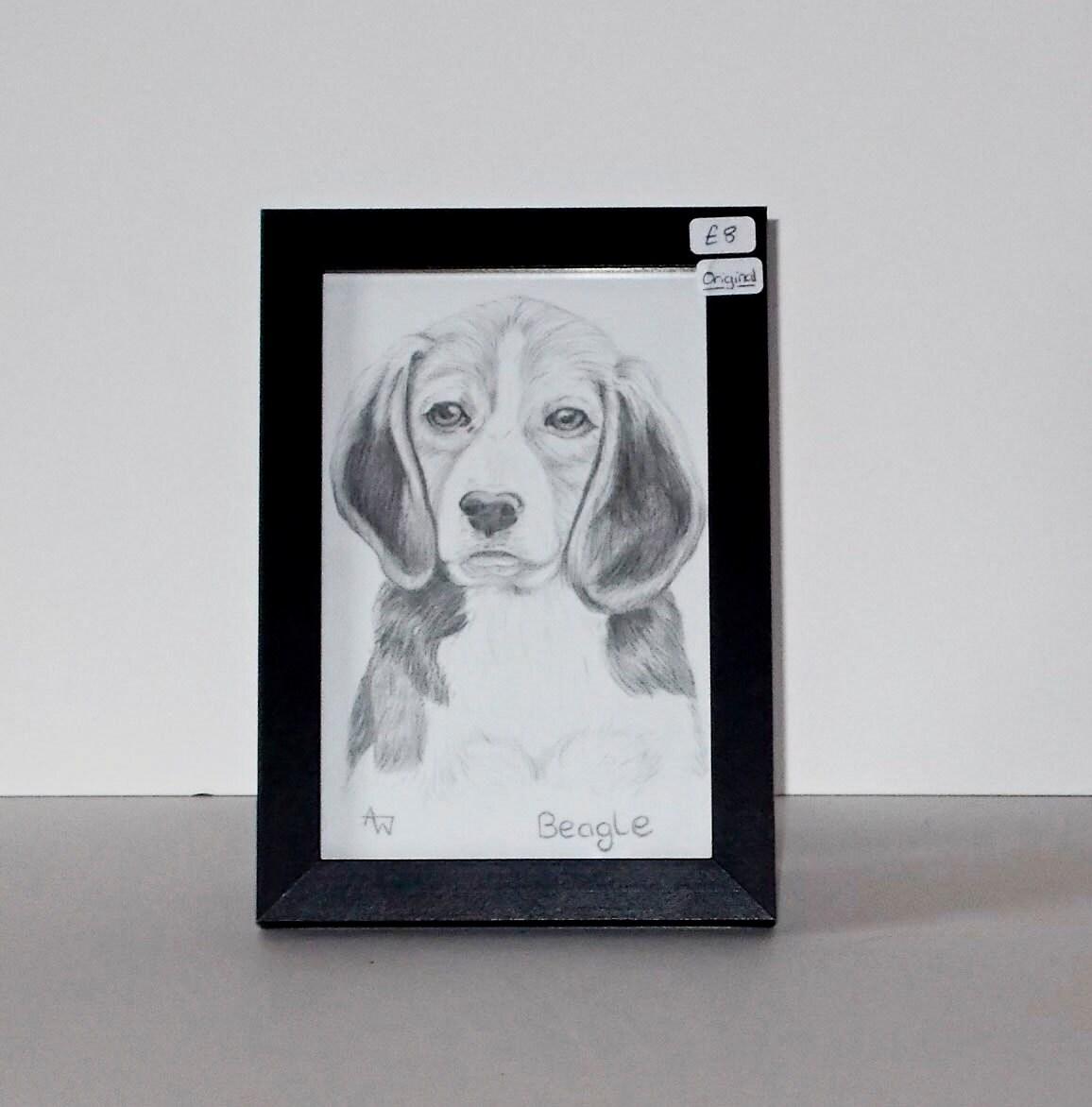 Lápiz de perro sabueso Beagle dibujo Original enmarcado