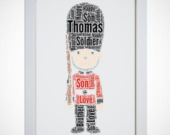 Personalised London Queens Guard Soldier Picture Word Art Print Dad Brother Son Gift