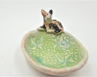 calico cat - trinket bowl porcelain original