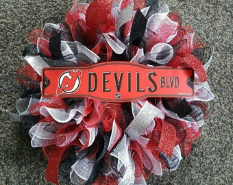 New Jersey Devils, New Jersey Devils Wreath, New Jersey Devils decor, NJ Devils, New Jersey Devils decorations, NHL, Hockey Wreath