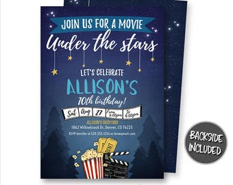 Movie Night Invitation, Movie Under The Stars Invitation, Backyard Movie Invitation, Outdoor Movie Invitation, Party, Printables, Digital