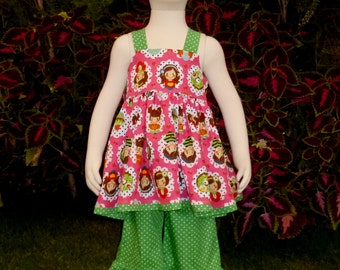 Sweet kids knot top and green polka dots set, Girl Outfit, Toddler Outfit, Girl Ruffle Pant, Girl Tunic, Green Polka Dots Ruffle Pant