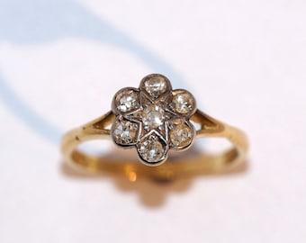 1920's Flower Diamond Cluster Ring