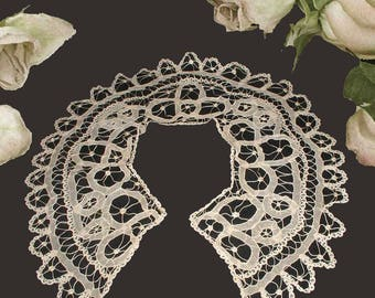 """Large Antique Handmade Net Tape Battenburg Style Lace Bertha Collar in Cotton - Almost 22"""" Wide"""