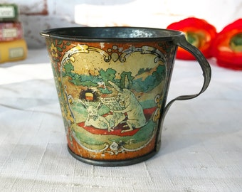 Rare Antique Tin Litho Risque Mating Bunny Rabbit Tea Cup, Hare Teacup, Humorous Metal Unusual Naughty erotica gag gift, Vintage