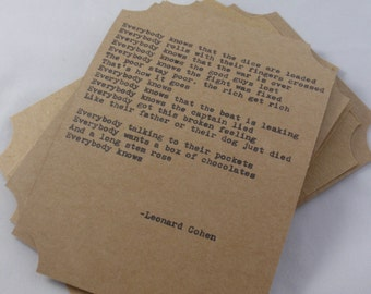 The Leonard Cohen Quote Card Collection-- Five Hand-Made Art Typography Letterpress Cards