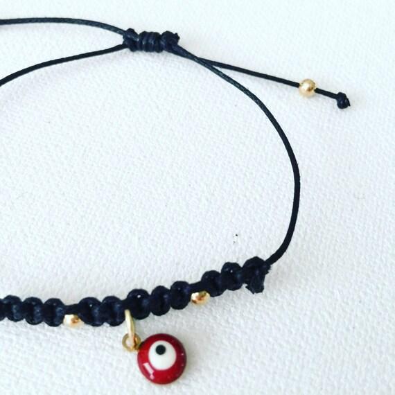Black Crochet Bracelet & Red Evil Eye Protector