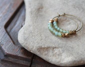 Kalimantan Antique Brass Creole Hoops with Matte Aqua Glass and Faceted Brass Beads - Matches Kalimantan Bracelet