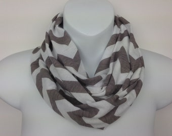 Gray and White Chevron Knit Infinity Scarf