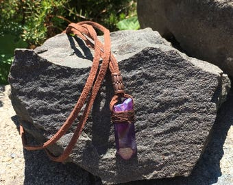 Beautiful Purple Flame Aura Quartz And Leather Necklace