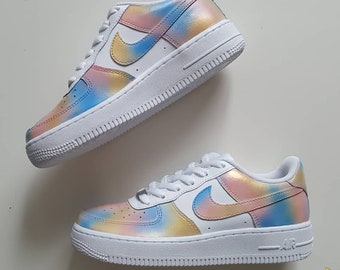 1 of 1 Nike Air Force 1 low, Unicorn, Rainbow, Cotton Candy. Size 4.5y very cute. *READY TO SHIP*