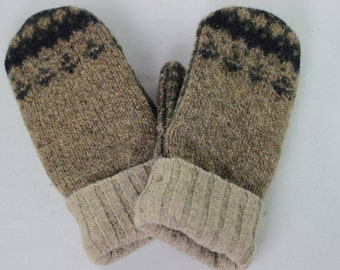 Etsy Sweater Mittens, Large, Army Greens,  Recycled Mittens