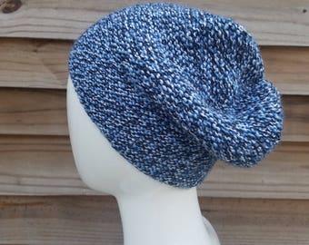 Slouchy beanie women, knit,  beanie hat, oversized hat, slouchy knit hat, wool hat men, unisex fashion, blue beanie, gift for, womens gift