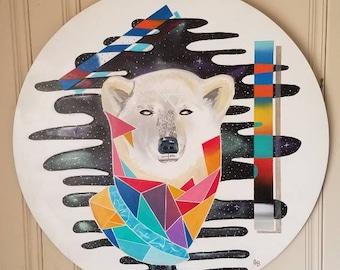 Geometric polar bear wood painting