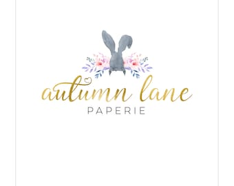 Pre-made Logo Design | Watercolor Logo | Photography Logo | Watermark | Rabbit Logo | Branding Package | Business Branding | Bunny Logo