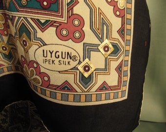 SILK SCARF of 100 PERCENT silk, 33 inch by 33 inch silk scarf, Silk Scarf with Gold metallic Design, Uygun Ipek Silk Ladies Scarf,Large Silk