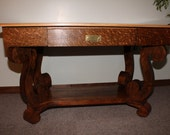 Antique Oak Library Table With Norway Maple Top