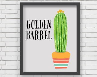 Southwest Cactus Art Print Home Decor - Golden Barrel Cactus Print - 8x10 or 11x14