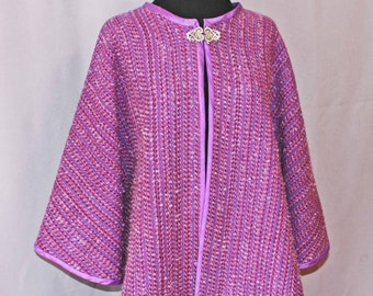 Purple mohair and wool cape, cloak, handwoven cape, shawl. poncho