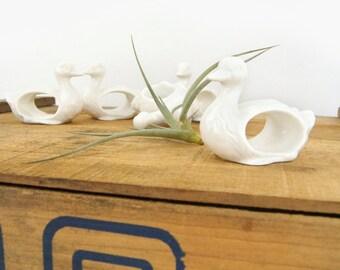 Sale | White porcelain birds napkin rings holder - Set of five (5) | Duck Swan Animal | Woodland Decor | Christmas Table setting