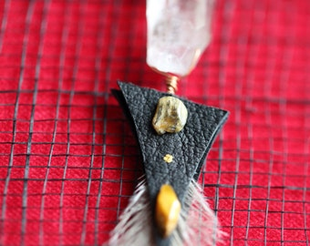 Earring .:. Herkimer Diamond . Emu Feather . Tiger Eye