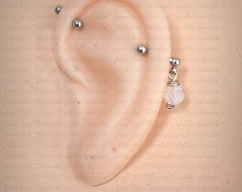 Industrial Barbell, Industrial piercing,  Jewelry, Industrial bar earring, Industrial piercing, Faceted glass