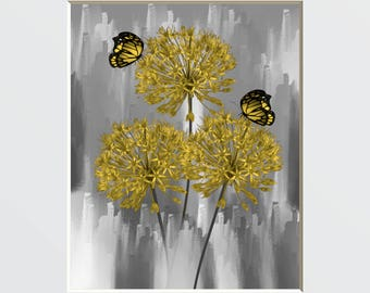 Yellow Gray Wall Pictures, Yellow Flowers Butterflies, Yellow Gray Bathroom Bedroom Modern Matted Artwork Picture